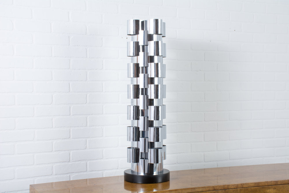 Copy of C. Jere Chrome Tower Lamp, 1970s