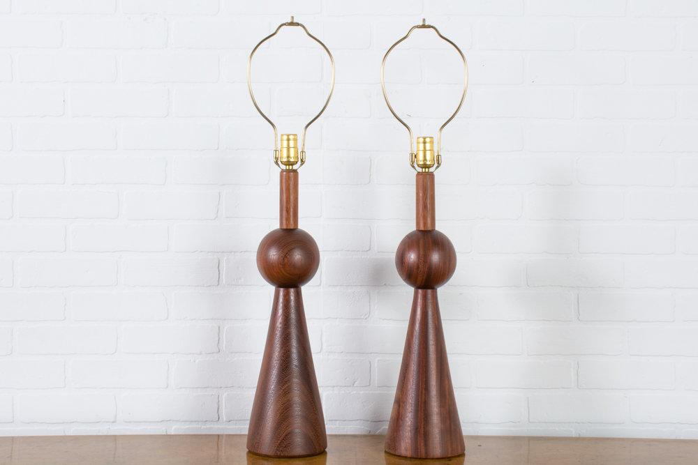 Pair of Vintage Mid-Century Geometric Walnut Table Lamps