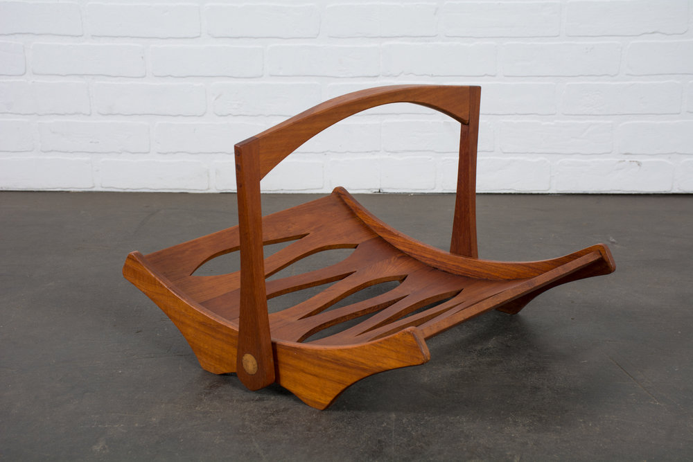 Copy of Jens Quistgaard Teak Magazine Holder for Dansk, Denmark, 1960s
