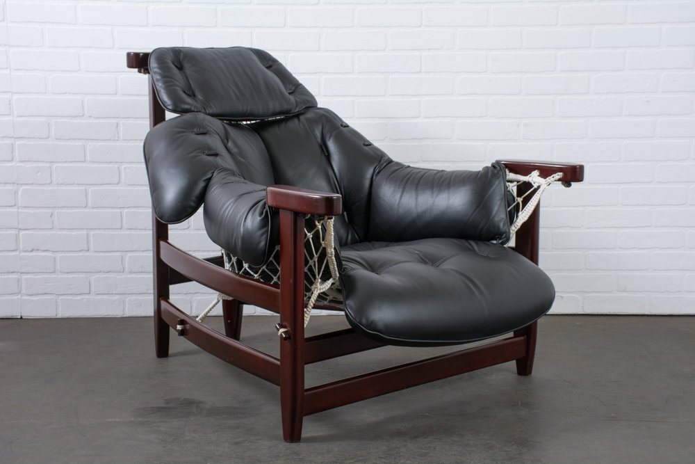 Jean Gillon Leather 'Jangada' Lounge Chair, Brazil, 1960s
