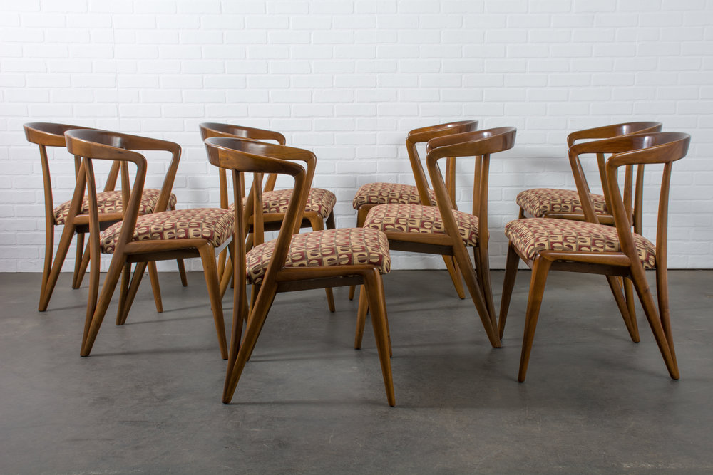 Copy of Bertha Schaefer Set of Eight Vintage Mid-Century Walnut Dining Chairs, 1950s