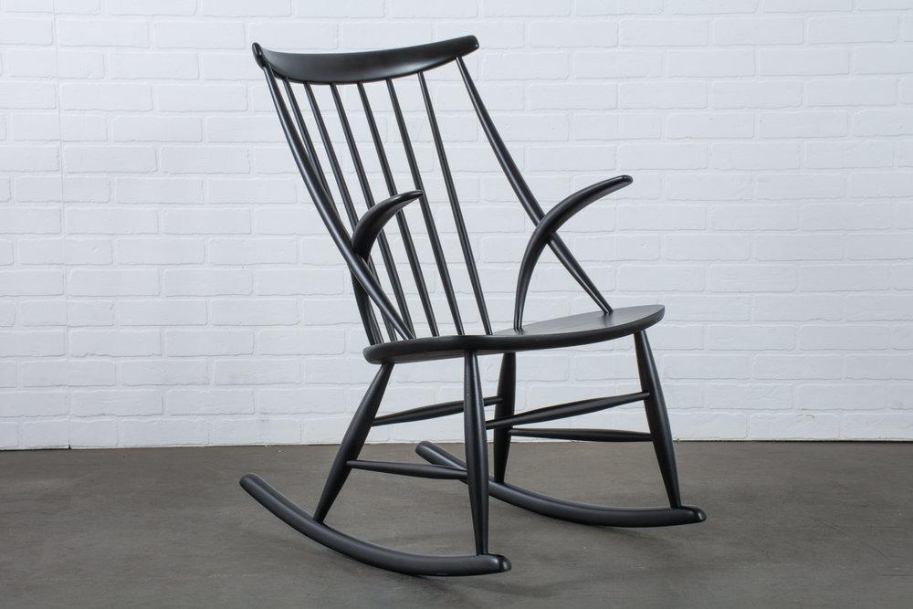 Illum Wikkelso Black Rocking Chair, Denmark, 1950's