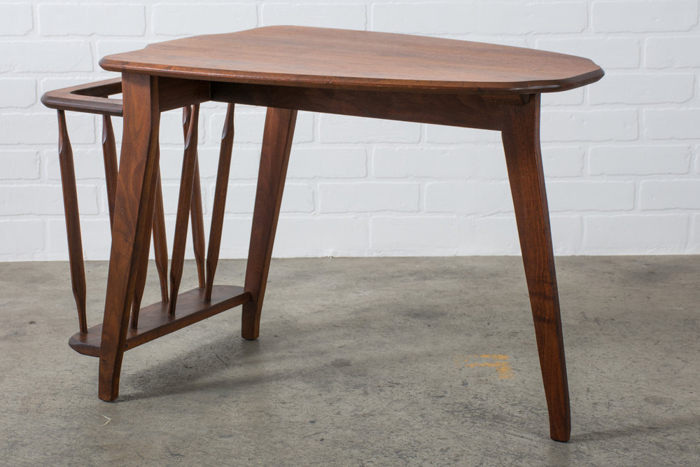 Mid-Century Side Table with Magazine Holder by Kipp Stewart for Drexel
