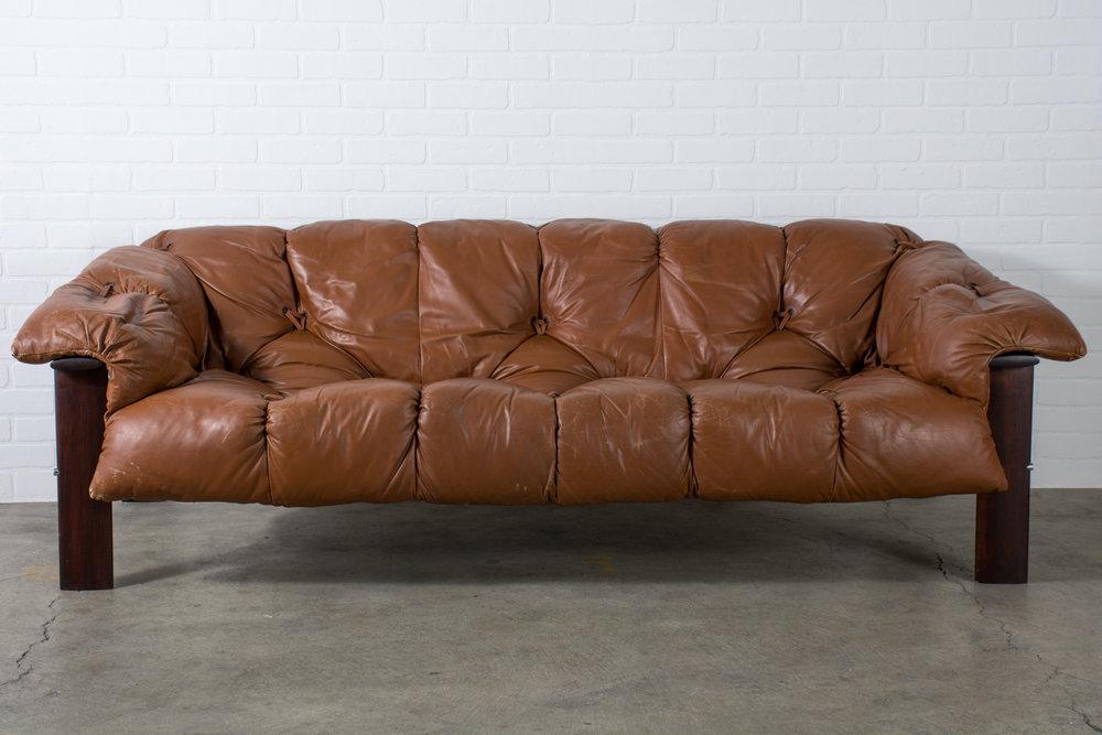 Percival Lafer Leather Sofa, Brazil, 1960s