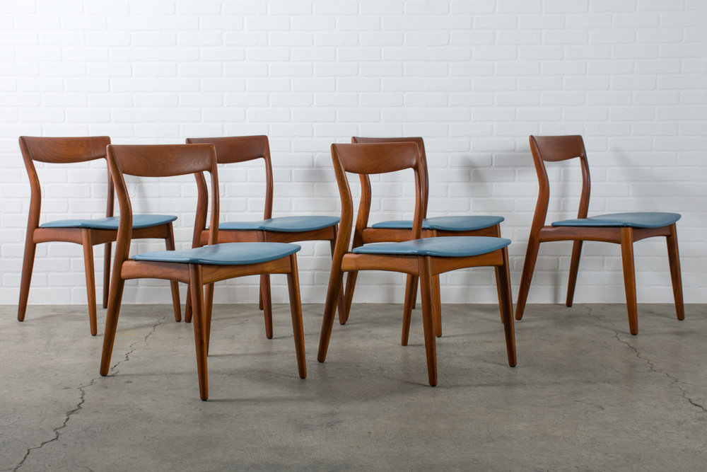 Copy of Six Mid-Century Modern Teak Dining Chairs by Viborg Stolefabrik, Denmark