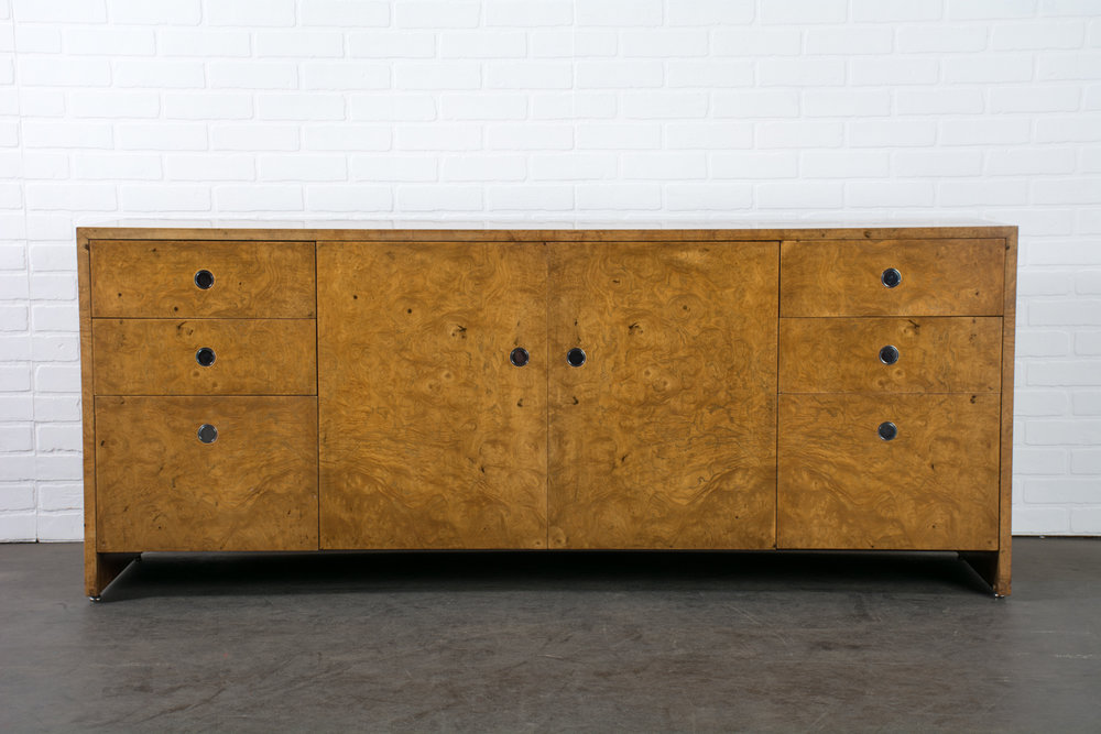 Copy of Ward Bennett Burl Wood Credenza for Brickel Associates