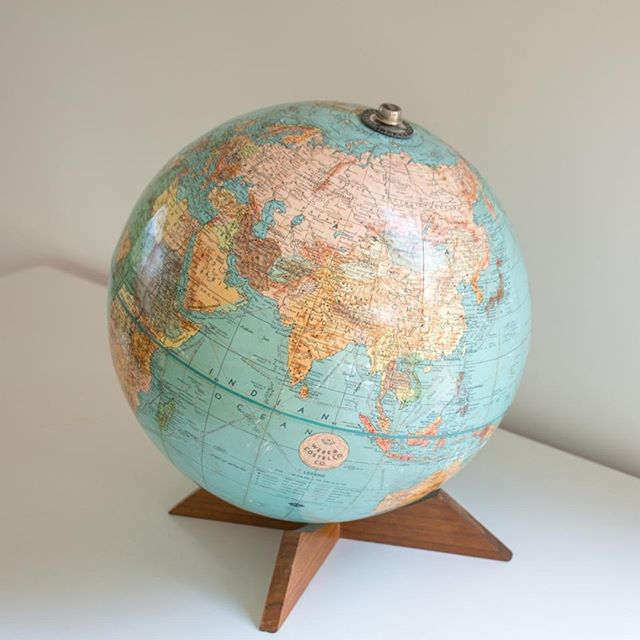 Mid-Century Modern Globe with Walnut 'X' Base by Weber Costello Co.
