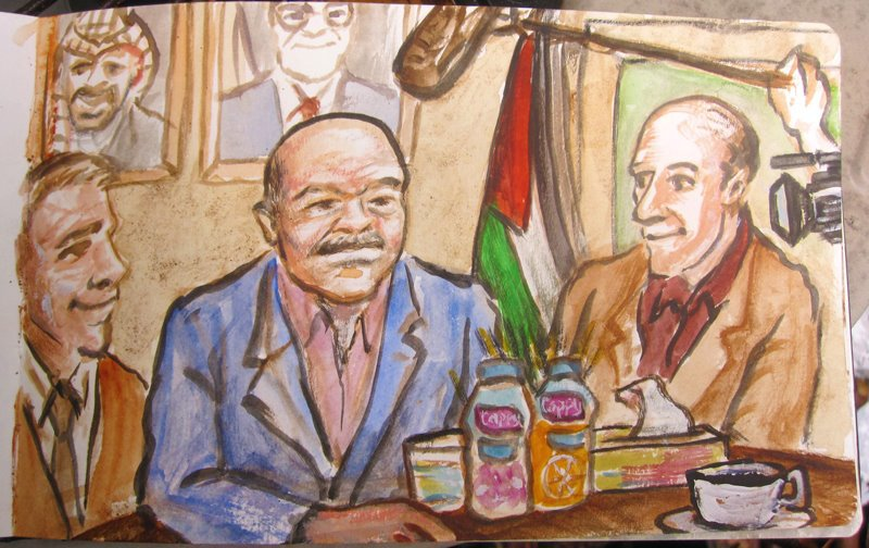 Painting created during our meeting with the Governor of Qalqilya