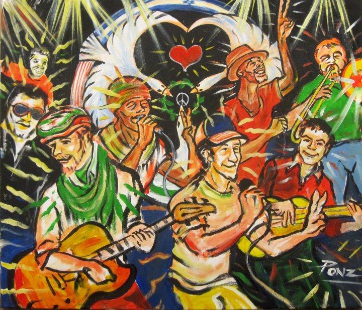Improvisational Painting made at Painted live at Gallery 29 in Kfar Saba, Israel