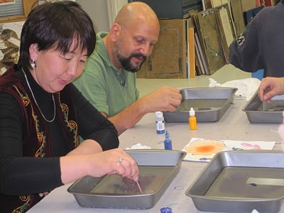 Ebru Painting with Nuri from Kyrgyzstan!