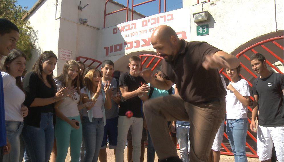 Footbag with the kids in Kfar Saba, Israel