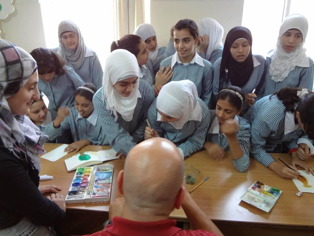 Art with the kids in Qalqilya, Palestine