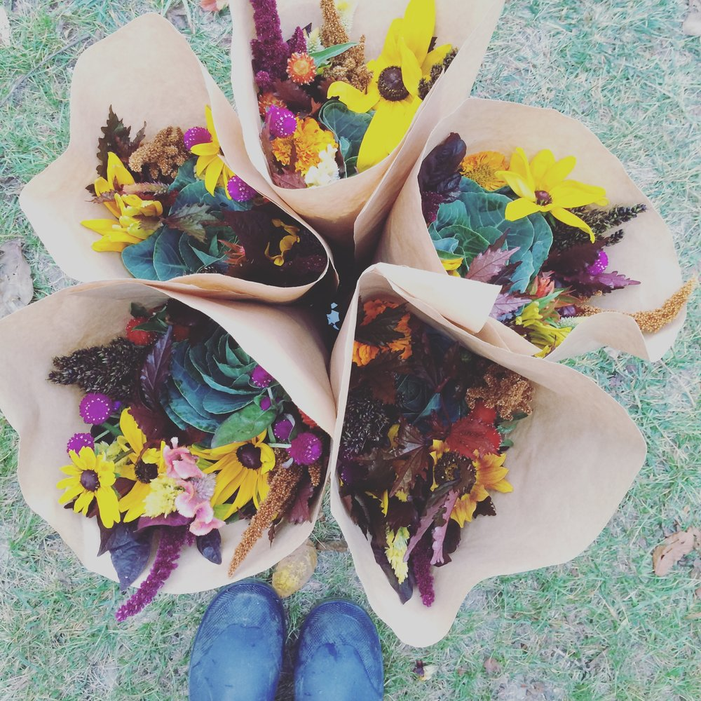 Autumn mixed bouquets heading to grocery customers.