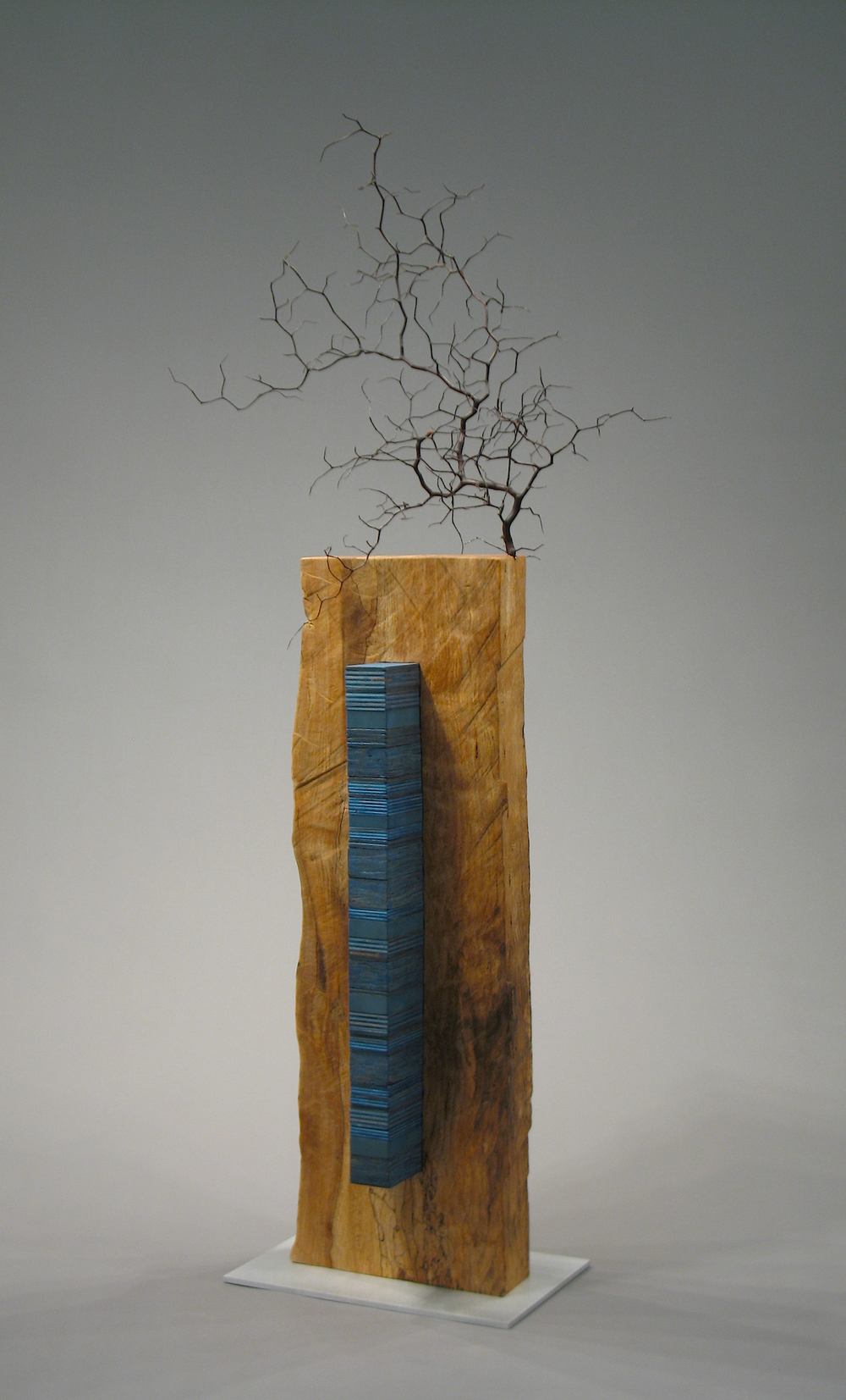 Ikebana Black and Blue  wood, aluminum    SOLD
