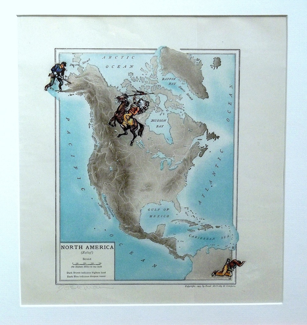 "Across the Straits  vintage map, transfer figures   10 x 8"" framed  $350"