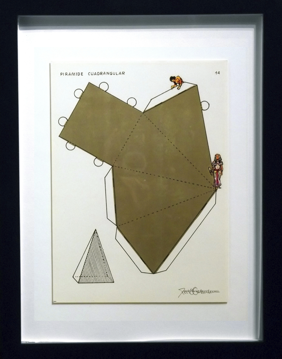 "Piramide Cuadrangular  vintage Spanish geometry workbook, transfer figures 9 x 7""   framed  $250"
