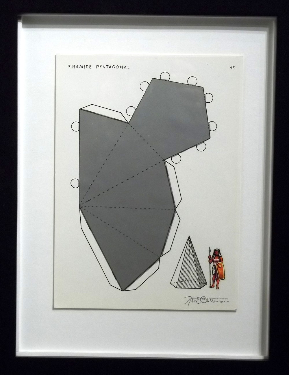 "Piramide Pentagonal  vintage Spanish geometry workbook, transfer figures  9 x 7""   framed  $250"