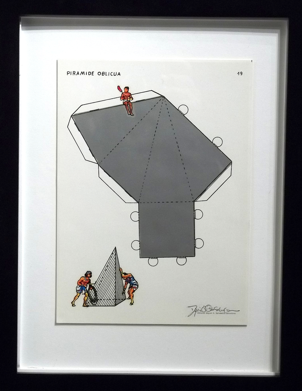 "Piramide Oblicua  vintage Spanish geometry workbook, transfer figures  9 x 7""   framed  $250"