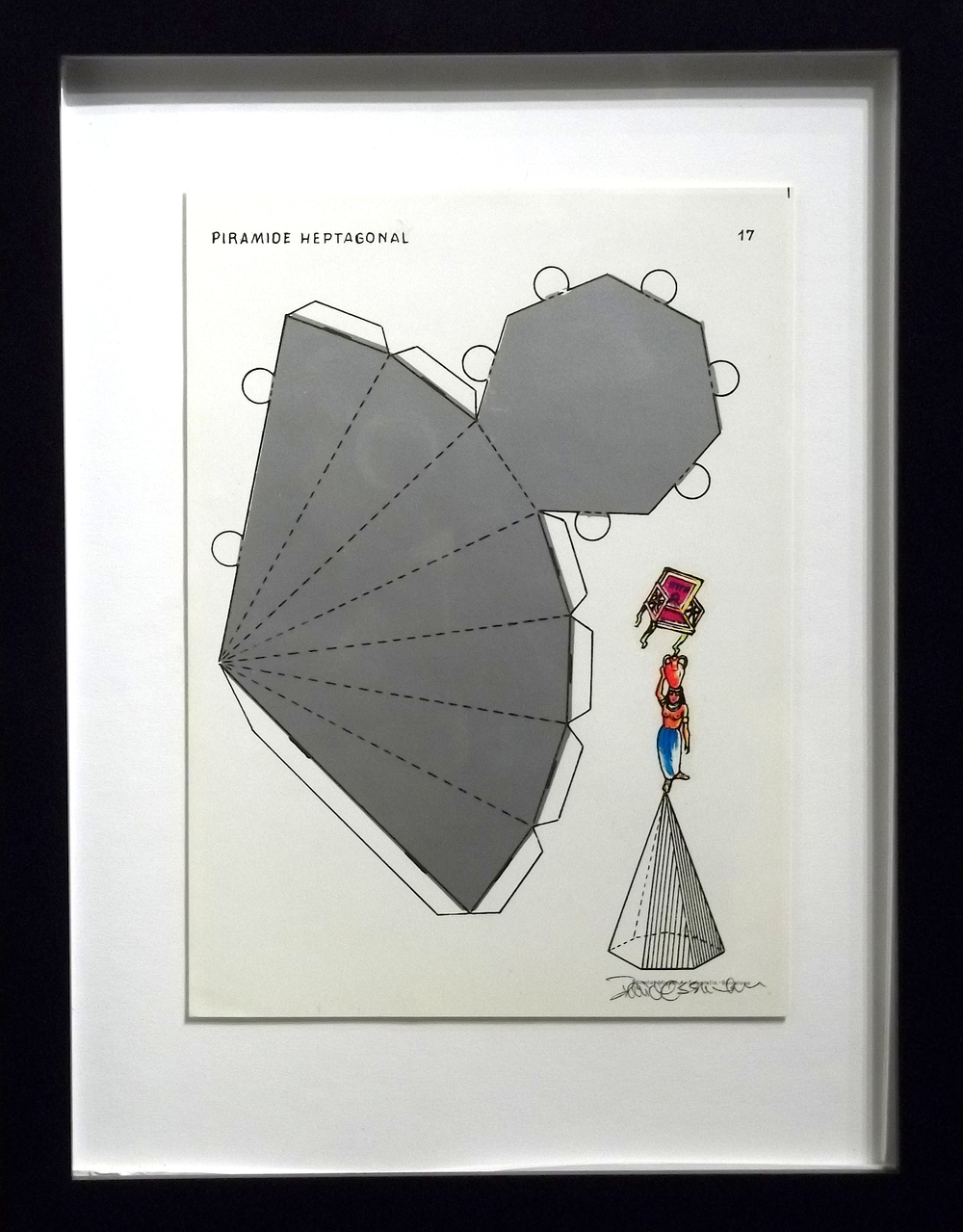 "Piramide Heptagonal  vintage Spanish geometry workbook, transfer figures  9 x 7""   framed  $250"