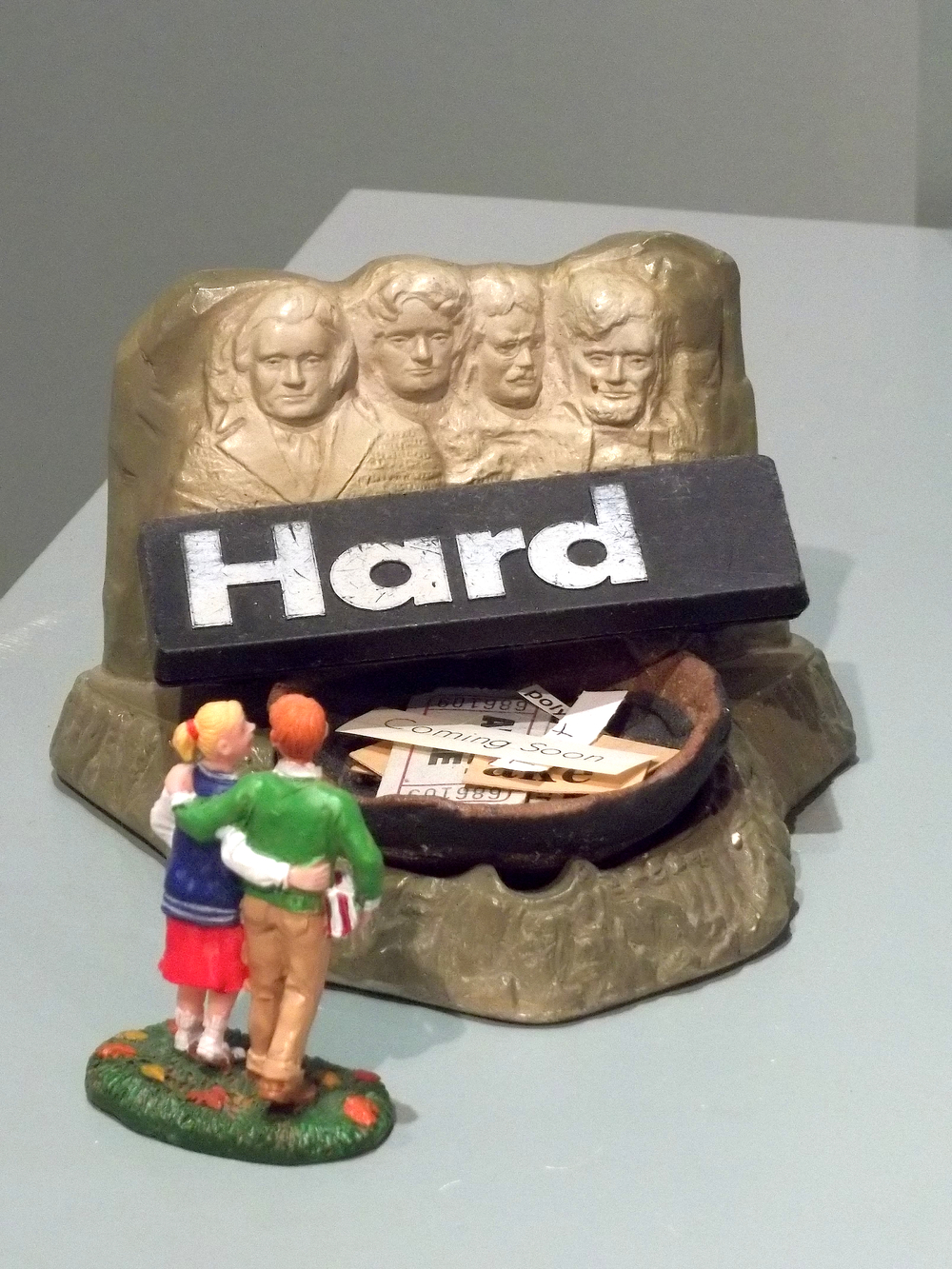 Coming Soon  souvenir ashtray, clay dish made by Ossman, found words, figures   $300