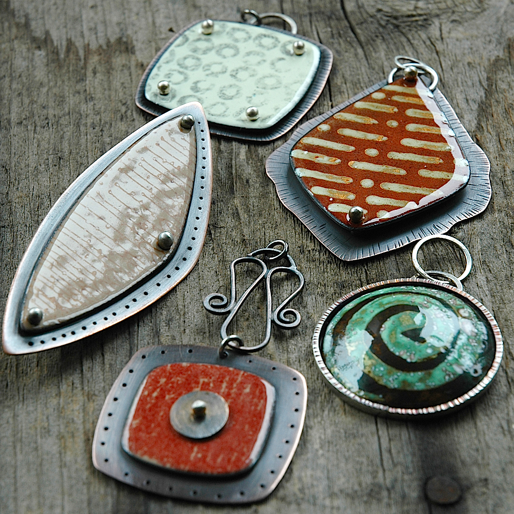 Metal Clay and Enamel Pendants