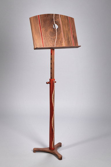 Music Stand walnut,, paduk. inlays     SOLD