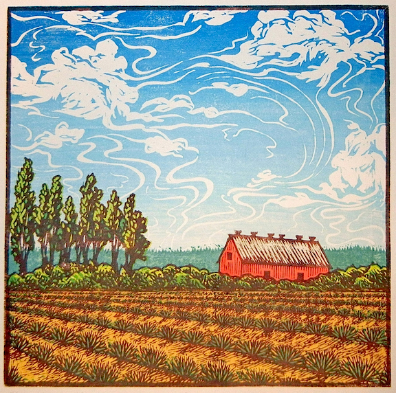 High Skies Harvest  six-block linoleum print