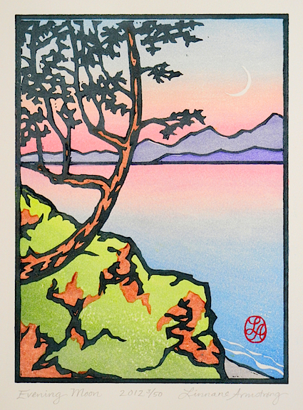 Evening Moon  seven-block linoleum print