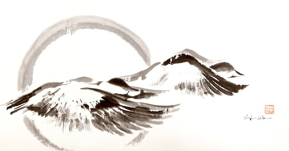 Two Ducks Flying sumi ink on paper     SOLD