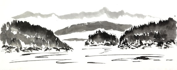 Islands sumi ink on paper     $1,200