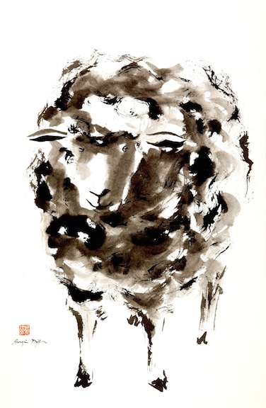 Black Sheep sumi ink on paper     SOLD
