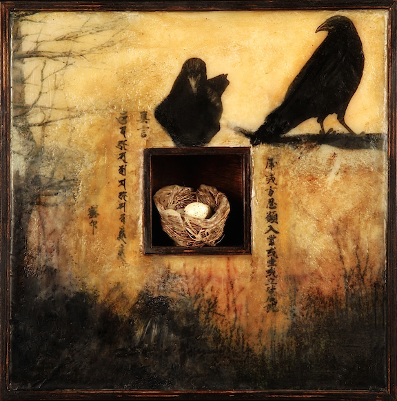 Crows and Nest     mixed media encaustic     12 x 12""