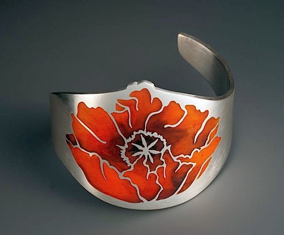 Poppy Cuff Bracelet sterling silver with resin inlay