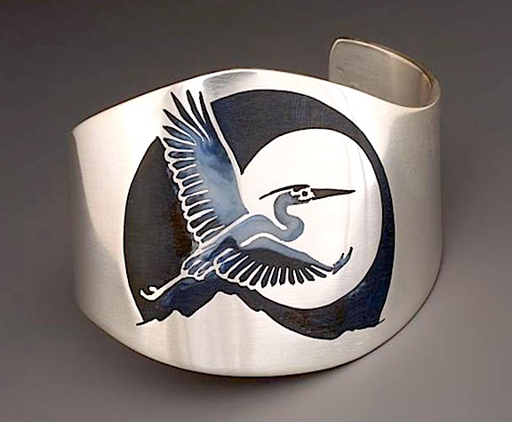 Heron Cuff Bracelet    sterling silver with resin inlay