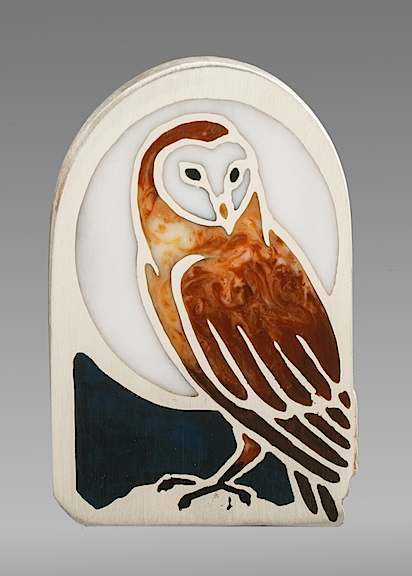 Barn Owl Pendant sterling silver with resin inlay