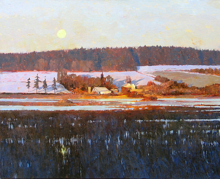 Deer Lagoon Moonset    oil       SOLD