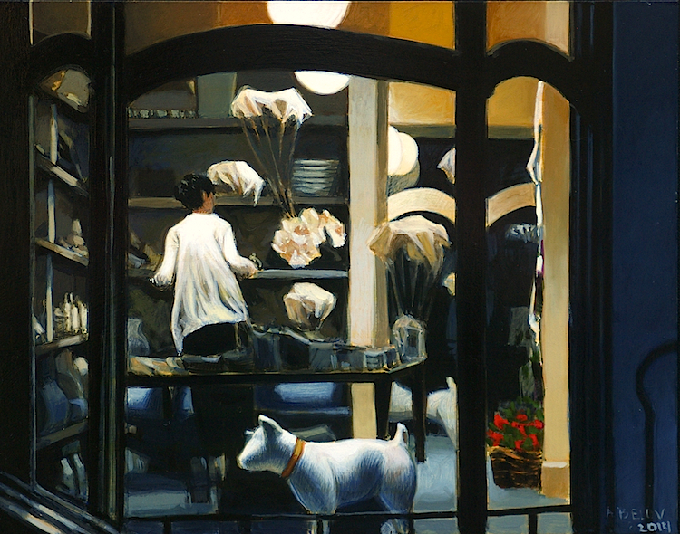 "Closing Time, Ebury Road  egg tempera with oil glazes   11 x 14""   $2,300"