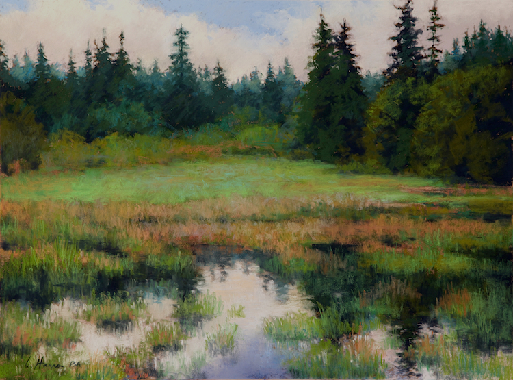 "Marshy Bottom    pastel   18 x 21""  $2,400"