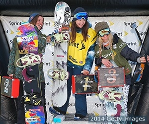 (L-R) Arielle Gold (second), Kelly Clark (first) Hannah Teter (third) celebrate on the podium at the Sprint U.S. Grand Prix on Dec. 6, 2014 in Copper Mountain, Colorado.