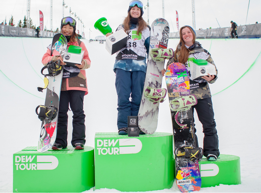 Women's podium: (l to r) Chloe Kim, Kelly Clark, and Arielle Gold.