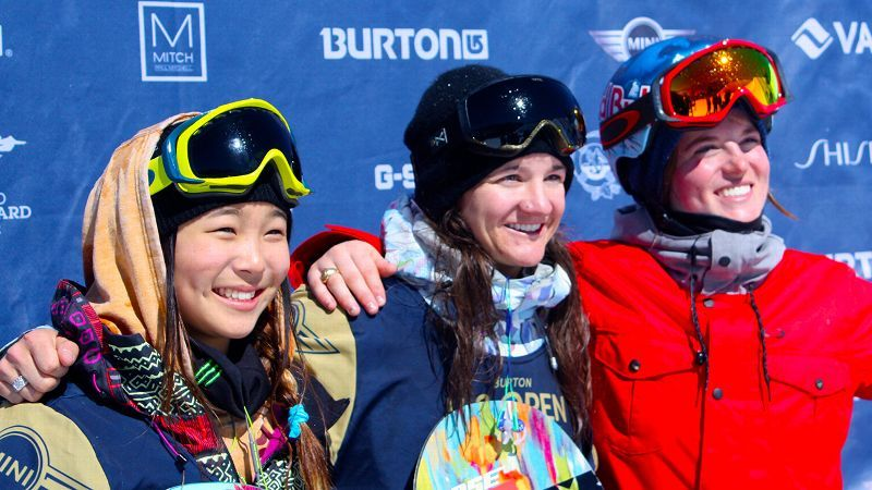 Courtesy Shauna Farnell  Kelly Clark, center, won her eighth US Open halfpipe contest, with teenagers Chloe Kim, left, and Arielle Gold behind her on the podium.