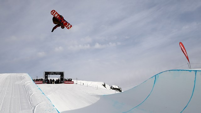 Kelly Clark gets airborne during the halfpipe qualifiers at the Audi quattro Winter Games NZ in Cardrona -  Getty Images