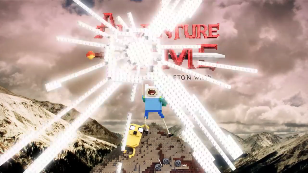 Various background elements and sword glare was fabricated for this  Adventure Time Lego intro .
