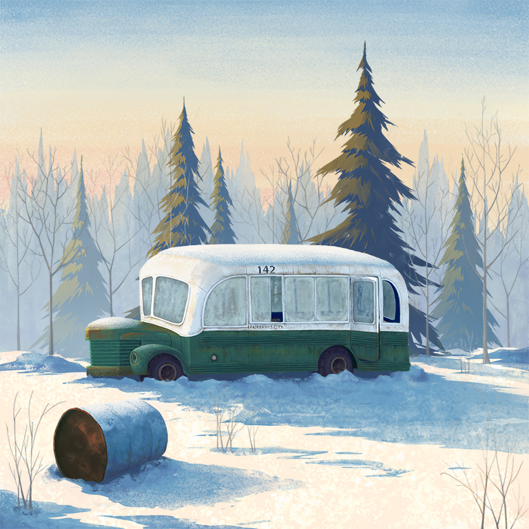 "McCandless Bus  Personal work. Got inspired by the movie  Into the Wild    '  ' Happiness only real when shared."" - Chris McCandless"