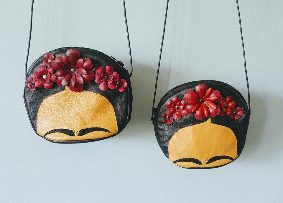 Leather Frida Kahlo evening bags with Leather Strap