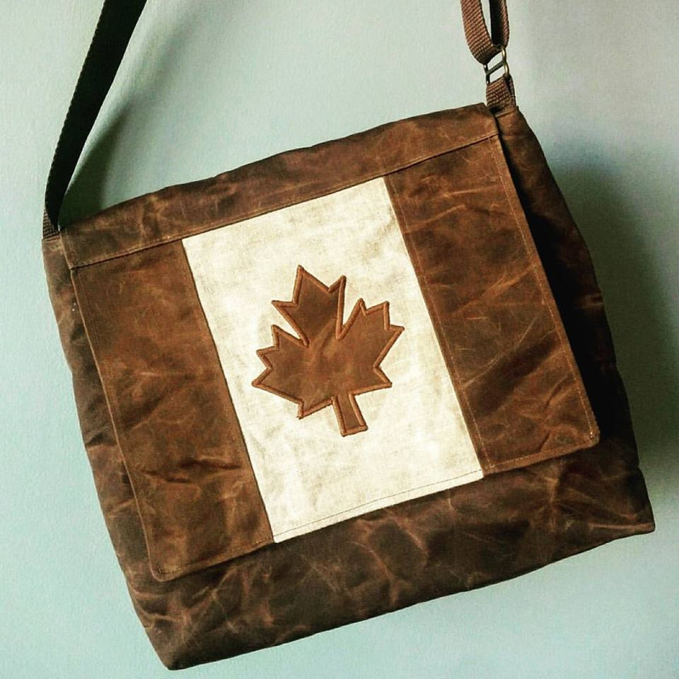 Canada Flag Bag in waxed cottona nd linen