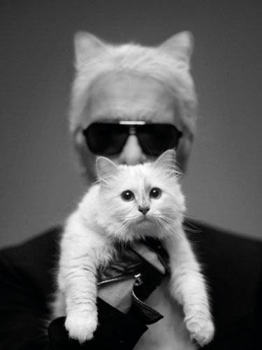 Karl Lagerfield with Choupette