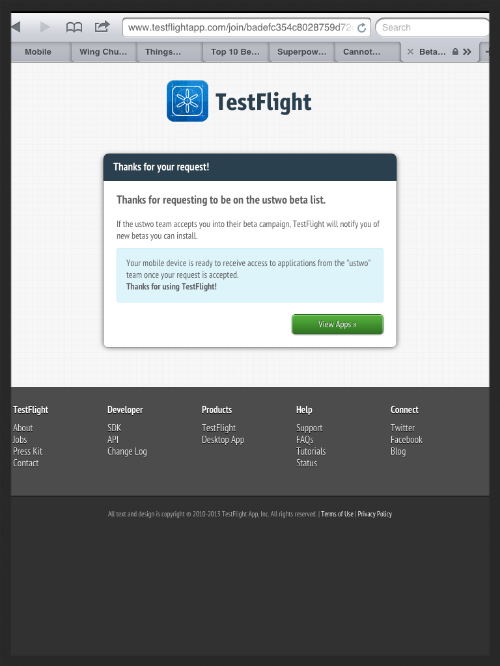2. Accept this message to be taken to your apps page of TestFlight.