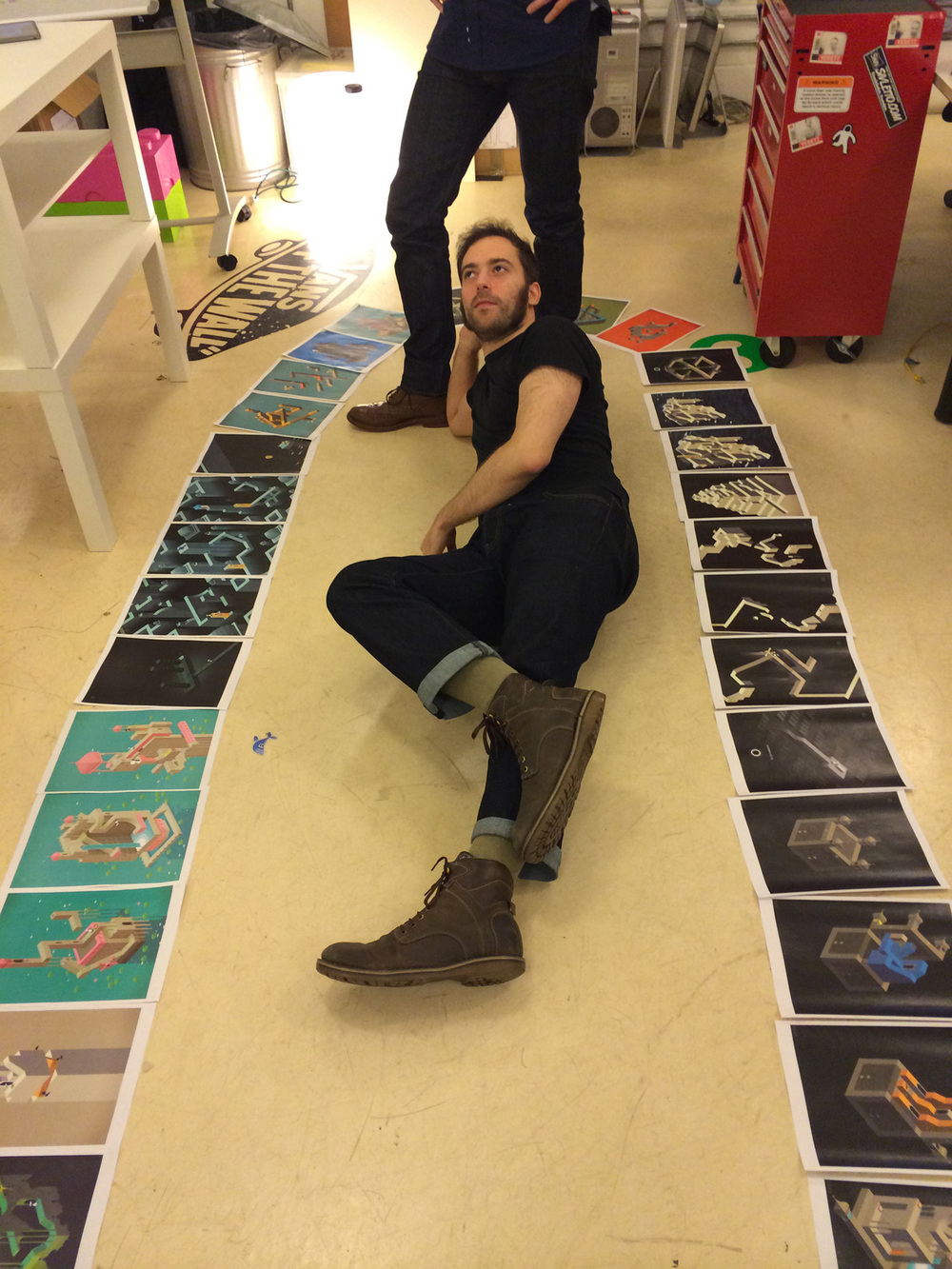 After printing out all the levels for the first time, David is just too excited.