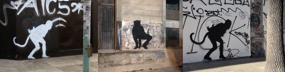 Street-art stencils based on the music video can be found throughout the city.